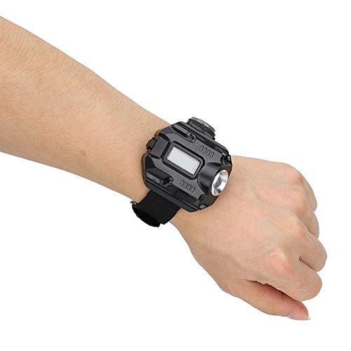 2 in 1 elektronische horloge lamp waterdicht LED draagbare pols licht hoogtepunt zaklamp met tijd en datum weergave voor buiten kamperen jacht klimmen nacht rijden(zwart)