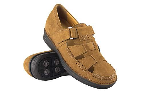 Zerimar Zerimar Herren Sandalen | Herren Ledersandalen | Sandalen Mann mit Wanderungen | Sandals mit Erhöht + 7cm | Trekking Wanderschuhe | Farbe Leder Größe 40