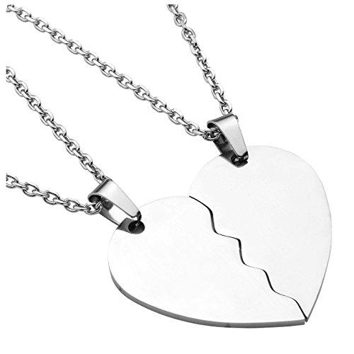 PiercingJ Personalized Gravur 2 Stücke Edelstahl 32mm Zwei halbes Herz Anhänger Halskette Freundschaftsketten Partner-Anhänger mit 24