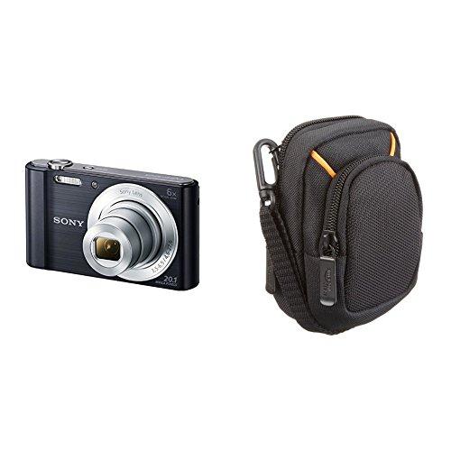 """Sony DSC-W810 - Cámara compacta de 20.1 Mp (pantalla de 2.7"""", zoom óptico 6x, estabilizador digital), negro + Amazon Basics - Funda para cámaras compactas (tamaño mediano)"""