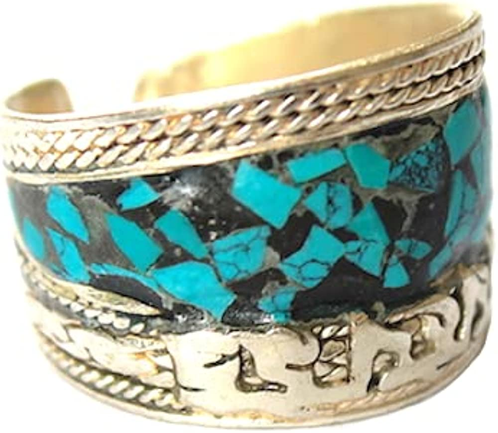 Blue Stabilized-Turquoise & Coral Mosaic Adjustable Ring | Boho Jewelry for Men & Women
