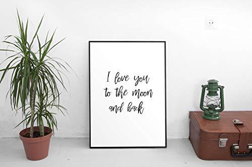 Ik hou van je om de maan en terug afdrukken Instant Downloaden Printerbare Poster Typografie Art Wall Art Digitale Art Print Wall Art Bedroom Art