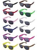 LFYXCW Lot de 12 Lunettes de Soleil Couleur Plastique pour Adulte Pack de Fete (12Couleur)