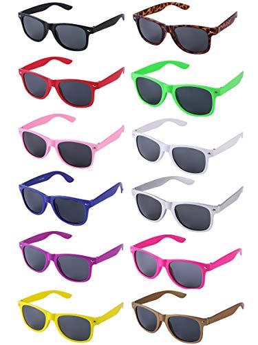LFYXCW 12 Paare Sonnenbrillen Set Bunt Party Favors Für Herren Damen Partybrillen Set Sommer 80er Uv400 (Mehrfarbig)