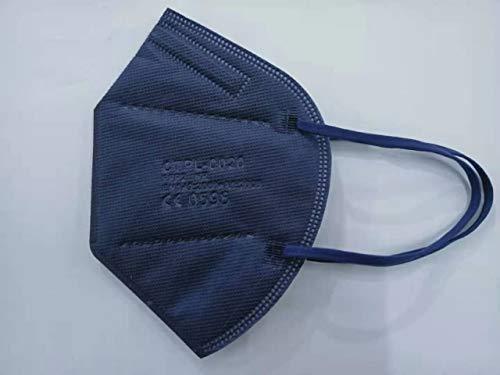 Media Sanex 25 Stück Atemschutzmaske FFP2 Mundschutz Maske perfekt für Mund- und Nasenschutz Schutzmaske Atemschutzmaske 5-lagig CE Zertifiziert einzeln verpackt verschiedene Farben (Deep Blue)