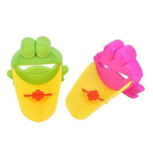 Musuntas 2pcs Rana grifo extensor alargador para niños Baby Manos Lavado Baño de dibujos animados animales diseño mano lavado