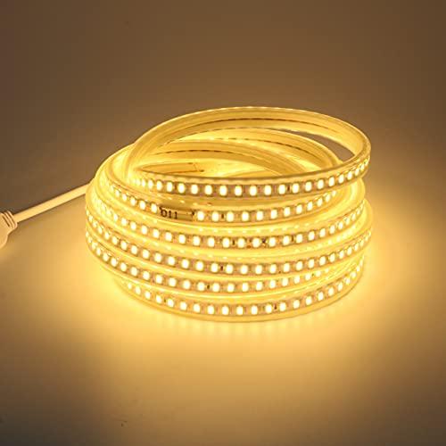 120Led / m Tira de luz LED 220V 5730 Cinta LED flexible Cinta impermeable IP67 con enchufe de la UE para el hogar Jardín Patio Decoración de vacaciones Lámpara blanca cálida de un solo color de 5M