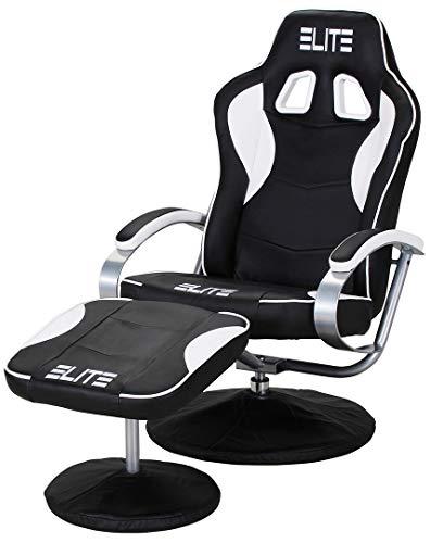 ECS ELITEGROUP Elite Deluxe Gaming Sessel MG-300 - Bürostuhl - Gamingstuhl - Streamingstuhl - Drehstuhl - Ergonomisch - Racingoptik - Fußhocker - Chefsessel - Racing (Schwarz/Weiß)