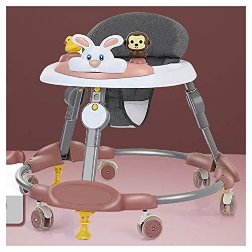 Olz El más Nuevo Andador Plegable para bebés, Andador Ajustable de 8 Alturas para niños y niñas de 6 a 18 Meses con Funciones de Control de fricción, Asiento Acolchado con Respaldo Alto,A Carmine