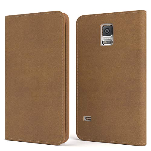 EAZY CASE Tasche kompatibel mit Samsung Galaxy S5/LTE+/Duos/Neo Vintage Schutzhülle mit Standfunktion Klapphülle Bookstyle, Handytasche Handyhülle, Magnetverschluss, Kartenfach, Kunstleder, Hellbraun