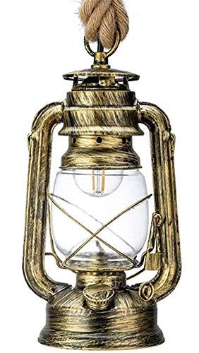 Kronleuchter Kronleuchter Vintage Petroleum Pendelleuchte mit Lampe E27 Einzelkopf Hanfseil Hängelampe, geeignet für Haus/Schlafzimmer/Wohnzimmer Industrie Kronleuchter