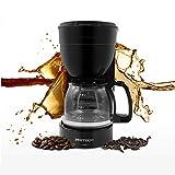 Cafetera de filtro con jarra de cristal, 800 W, 6 tazas, para café molido, soporte de filtro extraíble para el apagado automático del sistema antigoteo PRITECH