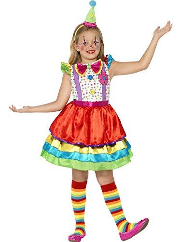 Smiffys-45250L Payaso Traje de Chica Bufón, Vestido y Sombrero, Color Ninguna, L-Edad 10-12 años (Smiffy