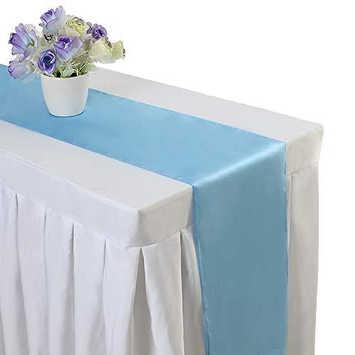 10PCS 12 x 108 Inch Satin Table Runner Wedding Banquet Decoration (#08 Light Blue)
