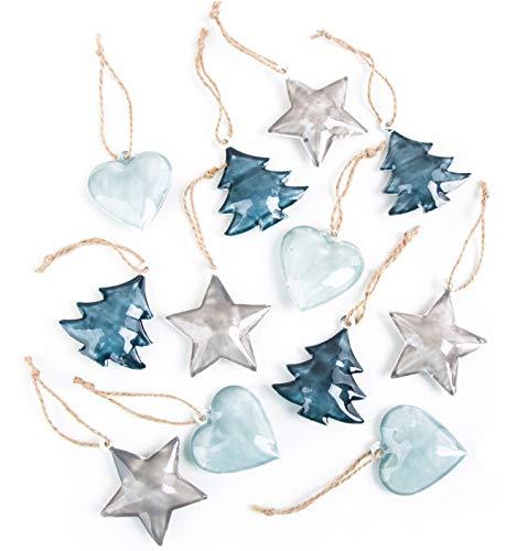 Logbuch-Verlag 12 ciondoli Natalizi Latta lamiera Azzurro Blu Grigio Cuore Palla Stella Natale addobbi Albero Particolare Decorazione