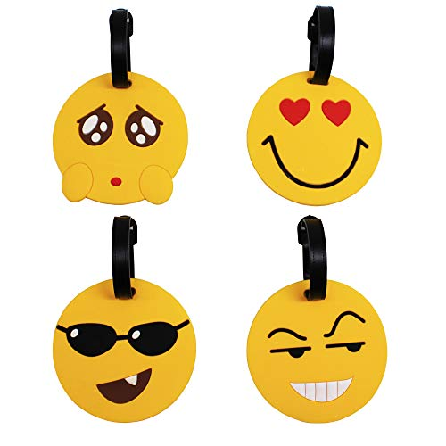 Mziart Cute Emoji Fun Luggage Tags Set of 4, Funny Travel Suitcase Tags Baggage Label Bag ID Holders Identifiers