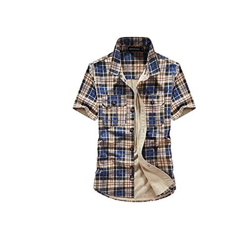 Sommer-kariertes Hemd, zufälliger halbärmliges, neues T-Shirt, locker und komfortabel B-L