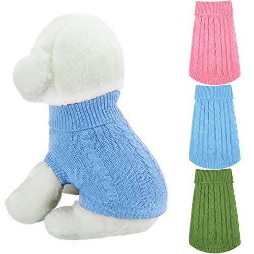 3 Pieces Dog Turtleneck Sweaters Classic Straw-Rope Dog Coat Pet Winter Knitwear Warm Dog Sweaters Pet Clothes for Doggies Puppy Cat (M, Pink, Blue, Green)