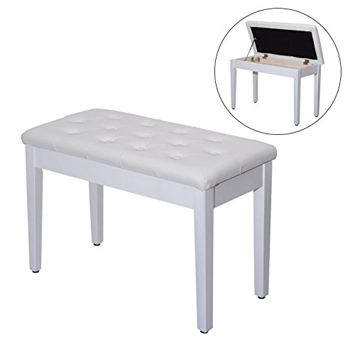 Great Price! Leather Padded Piano Bench w/ Storage Double Duet Seating Keyboard White