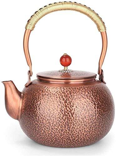 ZQADTU Tetera con Silbato de Estufa, Tetera de té con Tapa de Estufa Antigua, Tetera de Cobre con patrón de Martillo Hecho a Mano sin Recubrimiento, Tetera de Cobre de 1,5 l
