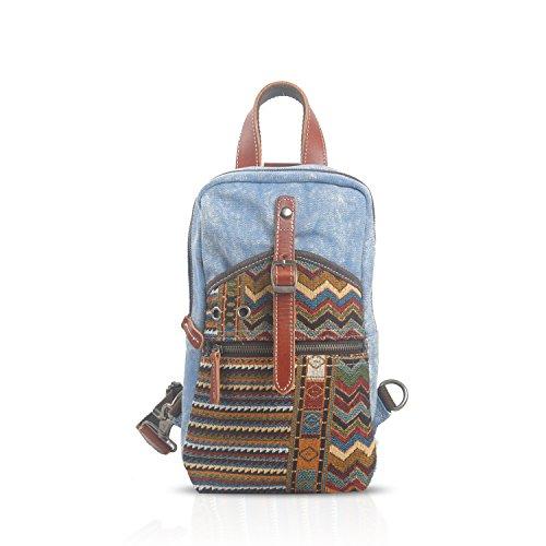 FANDARE Casual Zaino Monospalla Sling Bag 9.7 Inch iPad Uomo/Donna Studente Viaggio Pacchetto di Petto Borsa a Tracolla Traspirante Tela Blu