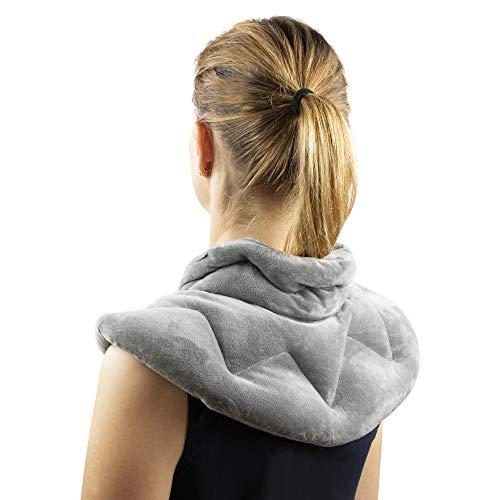 Knucks&Burl Wärmekissen für Nacken, Schulter und Rücken, geruchlos, mit Stehkragen, allergikerfreundlich, Erwärmung in der Mikrowelle, auch als Kühlkissen geeignet.