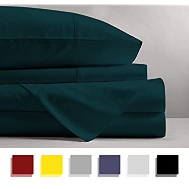 Mayfair Linen 100% EGYPTIAN COTTON Sheets, TEAL QUEEN Sheets Set, 800 THREAD COUNT Long Staple Cotton, SATEEN Weave for Soft and Silky Feel, Fits Mattress upto 18'' DEEP Pocket