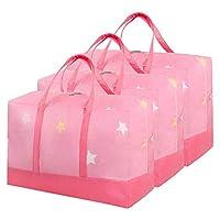 Hailong 衣類収納バッグ-75L大型ランドリーバッグ-移動用ダブルジッパー付きアンダーベッド収納バッグオーガナイザー-ワードローブ-キルト-掛け布団-クローゼット-羽毛布団-おもちゃ-毛布-衣類-寝具 (Color : Pink, Size : 3-pcs)