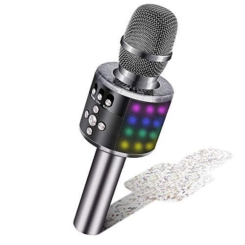 BONAOK Drahtloses Bluetooth-Karaoke-Mikrofon mit Steuerbaren LED-Leuchten, ragbarer Karaoke-Maschinenlautsprecher Geburtstagsgeschenk Party-Reise-Spielzeug für Android/iPhone/iPad (Weltraum Grau)