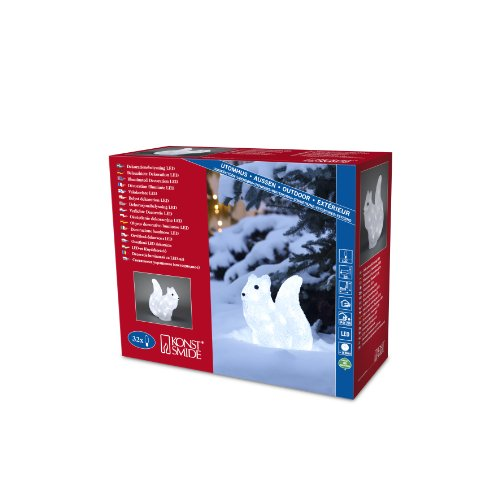 Konstsmide 6180-203 Écureuil Acrylique 32 LED Blanc + Câble Transparent 24 V