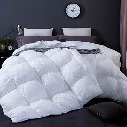 WENERSI White Goose Down Comforter Queen,Beautiful Pinch Pleat Duvet Insert,1200Thread Count 100% Egyptian Cotton Fabric,750Fill Power All Season Queen Comforter(White,90x90inches)
