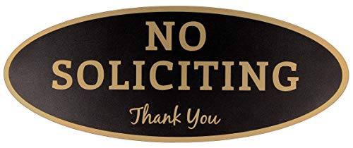 """No Soliciting Sign – Digitally Printed Indoor/Outdoor Sign – Durable UV and Weather Resistant (Small - 2"""" x 5"""", Black with Gold Letters)"""