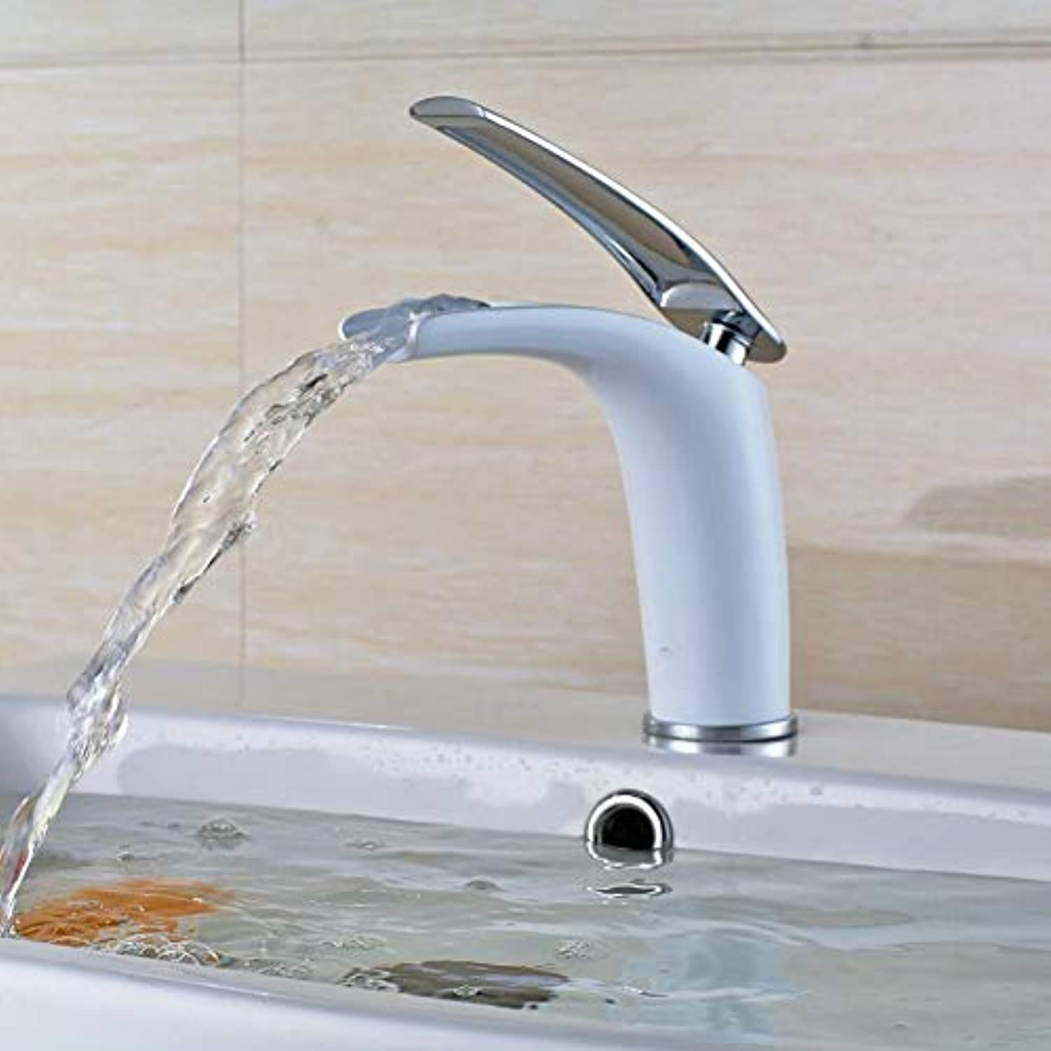 Lddpl New Arrivals Bathroom Faucet Hot and Cold White Brass Basin Faucet Waterfall Faucet Sink Faucet Single Handle Water Tap