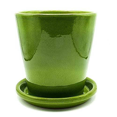 Maceta + Plato Modelo caña 1 esmaltada en Color Verde,Medidas 18 cm de diámetro x 18 cm de Altura