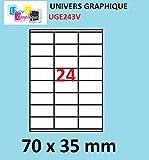 480 etiquettes 70 x 35 mm - 20 feuilles A4-24 étiquettes autocollante par par planche A4 pour imprimante jet d'encre et laser