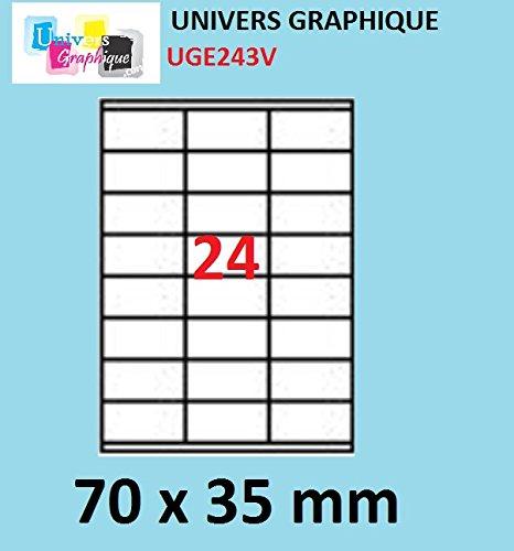 20 A4-Blatt 24 Aufkleber 70 x 35 mm Klebeetikettenpapier für Tintenstrahl- und Laserdruckern