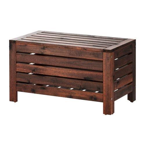 äpplarö–Banco de almacenamiento, Exterior, teñido marrón