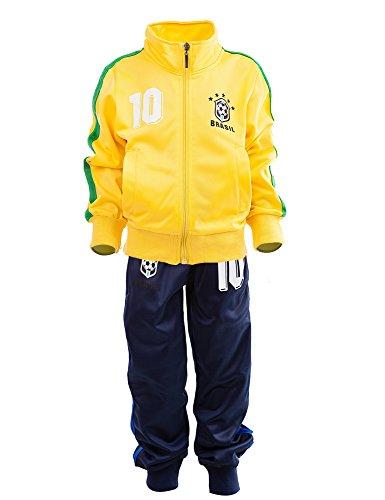 24brands Kinder Jungen Fußball Set Trainings Anzug Polyesteranzug Trikot Deutschland Brasilien sportanzug Ländertrikot TKF2941, Größe:152;Farbe:Brasilien