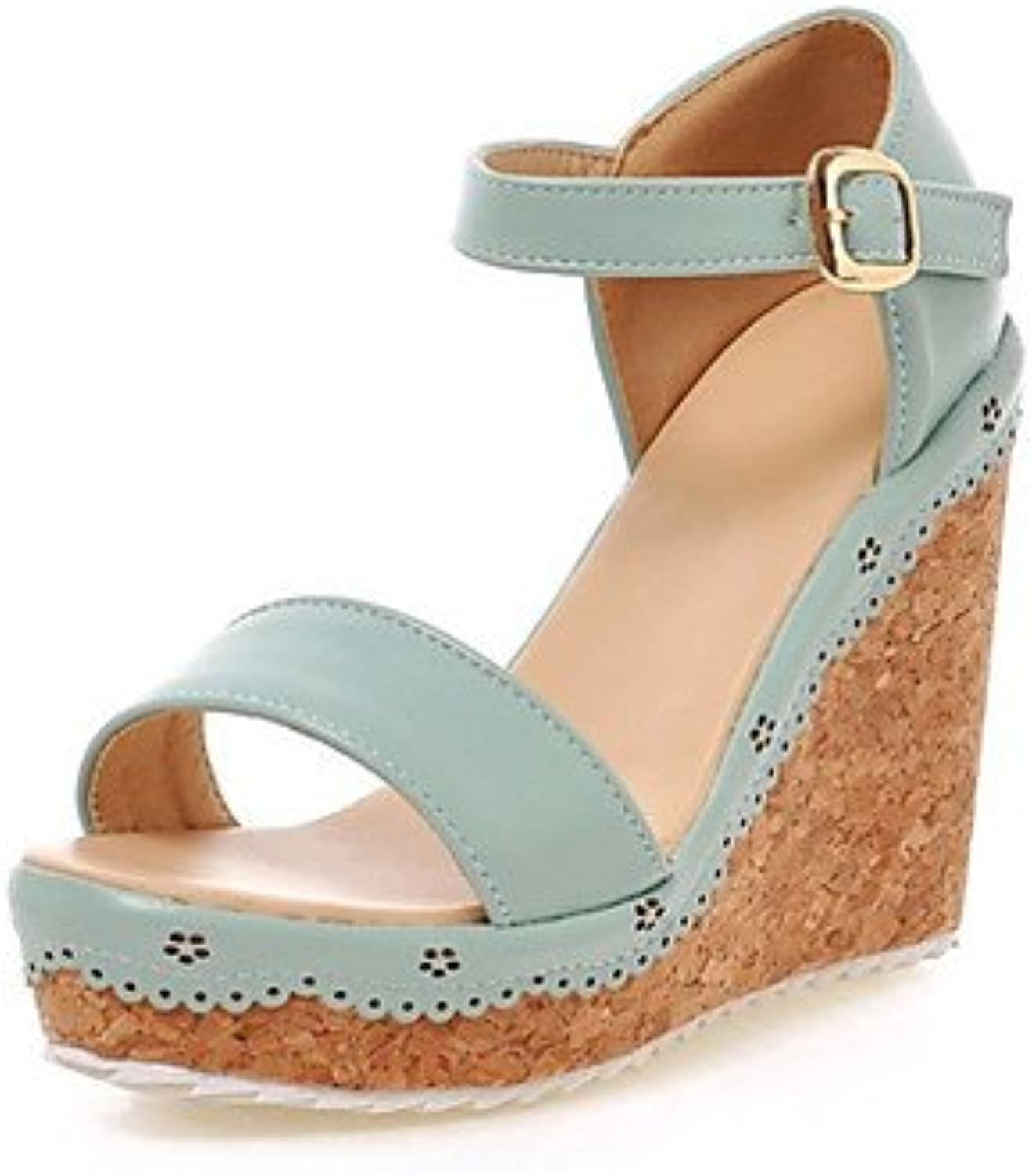 N.Y.L.A. Women's shoes Leatherette Wedge Heel Wedges Platform Open Toe Sandals Office & Career Dress Casual bluee Pink, Pink, us9.5-10   eu41   uk7.5-8   cn42