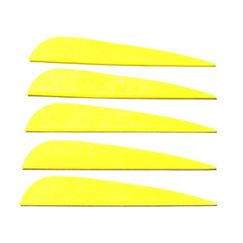 Letszhu Arrows Vanes 4 Inch Plastic Feather Fletching for DIY Archery Arrows 50 Pack (Yellow)