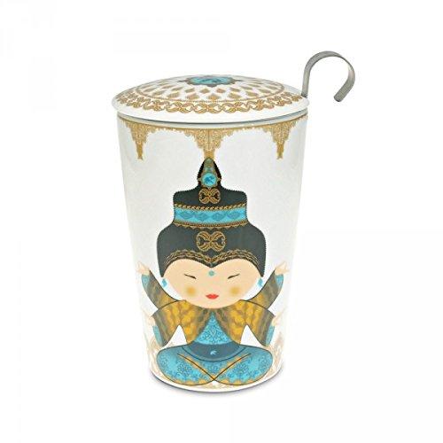 Teaeve EVE Doppelwandige Tasse mit Sieb, Little Shiva Ocean, Porzellan
