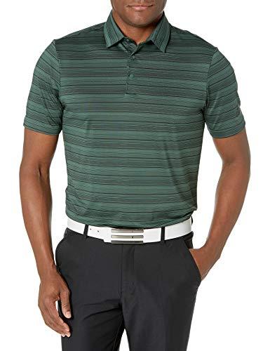adidas Golf Men's Heathered Primegreen Aero.rdy Polo Shirt, Green/Black, Medium