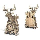 ZFF-DM Mecánico 3D Puzzle Madera Modelo de Madera Modelo de Animales Modelo de Ciervo y Caballo DIY DIY Adulto de Madera Juego de construcción de Madera con Reloj (Color : 1q)