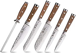 BGT Japanese 67 Layer High Grade VG-10 Super Damascus Steel Knives, Sharp, Teak Handle Professional Hammered Kitchen Knife Set with Knife Roll Bag 6Pcs Set (Silver Blade)