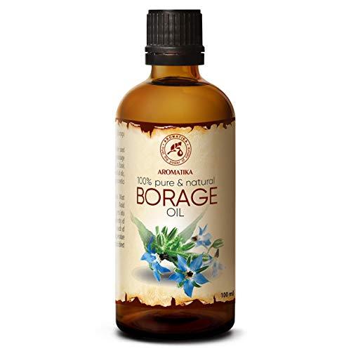 Olio di Semi di Borragine 100ml - 100% Puro e Naturali - Olio Borago Officinalis - Grandi Benefici per la Pelle - Capelli - Viso - Cura del corpo - Bottiglia di vetro - Oli Borragine
