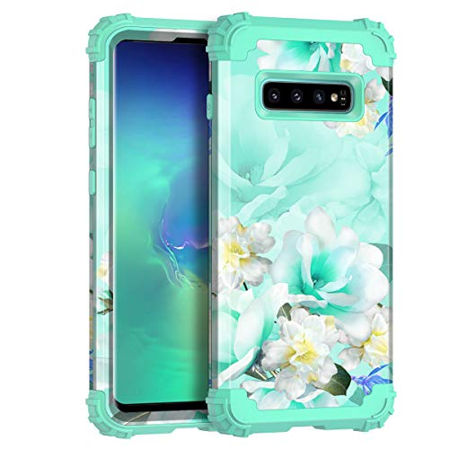 Casetego Compatible Galaxy S10 Case,Floral Three Layer Heavy Duty Hybrid Sturdy Armor Shockproof Full Body Protective Cover Case for Samsung Galaxy S10,Green Flower