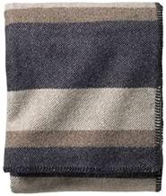 Pendleton - Eco-Wise Washable Wool Blanket, Midnight Navy Stripe, Twin