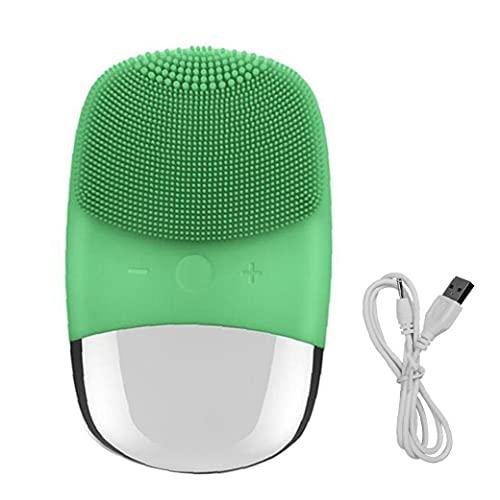 Nettoyage du Visage Pinceau Silicone Visage électrique Scrubber étanche Profond Cleanning Massager Visage pour comédons Vert