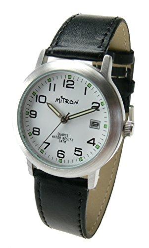 Mitron Damenuhr Silber mit schwarzem Band / 63418