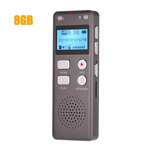 Aibecy Digitaal dicteerapparaat, voicerecorder, MP3-muziekspeler, one-knop-opname, spraakgestuurde ondersteuning, opname, monitor, telefoonopname met luidspreker, 8 GB
